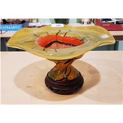 LARGE ART GLASS BOWL ON WOODEN STAND