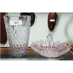 LARGE CRYSTAL VASE & PRESSED GLASS BOWL