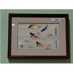 FRAMED ASIAN WATERCOLOUR OF KOI SIGNED