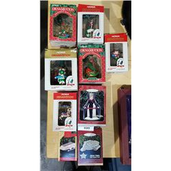 EIGHT HALLMARK & NOMA ORNAMOTION CHRISTMAS ORNAMENTS