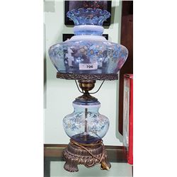 "VINTAGE BLUE GLASS ""GONE WITH THE WIND"" LAMP"
