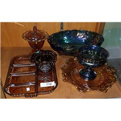 SIX PIECES VINTAGE CARNIVAL GLASS