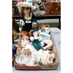 FIVE COLLECTIBLE PORCELAIN DOLLS