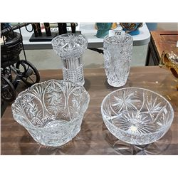 FOUR PIECES VINTAGE PINWHEEL CRYSTAL