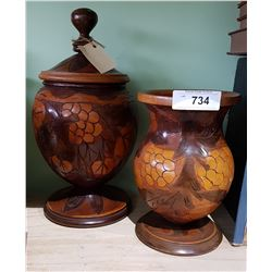 HAND CARVED WOOD URN & VASE