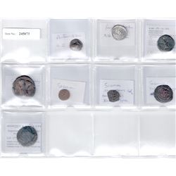 PARTHIAN, SASANIAN, AFRIGHID: LOT of 7 copper and 1 silver coins