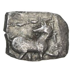 INDO-SCYTHIAN: Anonymous, ca. 110-100 BC, AR square hemidrachm (0.66g). VF