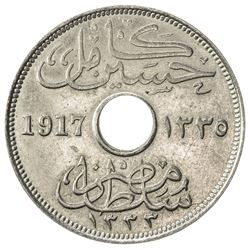 EGYPT: Hussein Kamil, 1914-1917, copper-nickel 10 milliemes (5.72g), Kings Norton, 1917/AH1335-(KN).