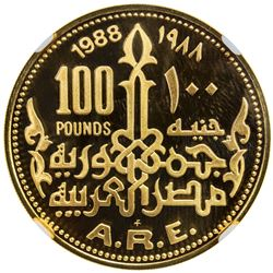 EGYPT: Arab Republic, AV 100 pounds, 1988. NGC PF69