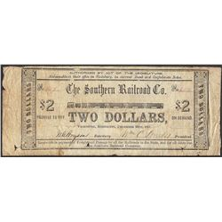 1861 $2 Southern Railroad Co. Vicksburg, Mississippi Script Note