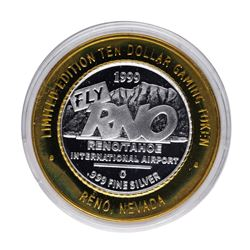.999 Silver Fly RNO Reno Tahoe $10 Casino Limited Edition Gaming Token