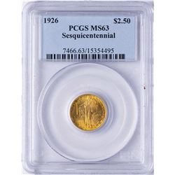 1926 $2 1/2 Sesquicentennial Commemorative Gold Coin PCGS MS63