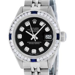 Rolex Ladies Stainless Steel Black Diamond & Channel Sapphire Datejust Watch