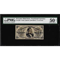 1863 Twenty Five Cents Third Issue Fractional Note PMG About Uncirculated 50 Net