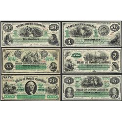 Lot of (6) 1872 State of South Carolina Obsolete Currency Notes Hinged