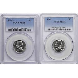 Lot of 1961 PCGS MS66 & 1961-D Jefferson Nickel Coins PCGS MS65