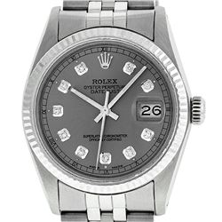 Rolex Men's Stainless Slate Grey Diamond 36MM Datejust Wristwatch