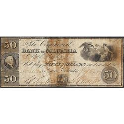 1849 $50 Bank of Columbia South Carolina Obsolete Note