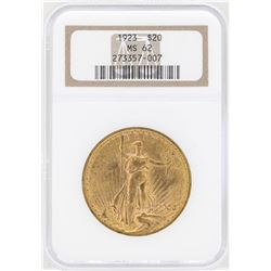 1923 $20 St. Gaudens Double Eagle Gold Coin NGC MS62