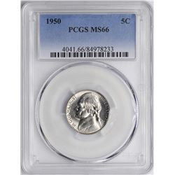 1950 Jefferson Nickel Coin PCGS MS66