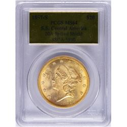 S.S. Central America 1857-S $20 Liberty Head Double Eagle Gold Coin PCGS MS64