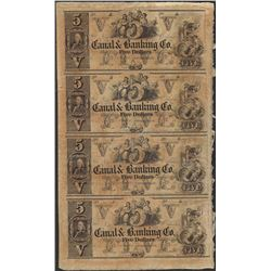 Uncut Sheet of 1800's $5 Canal & Banking Co. Obsolete Notes