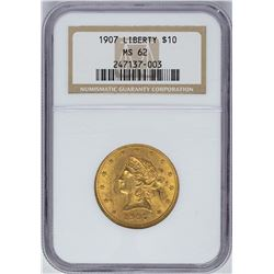 1907 $10 Liberty Head Eagle Gold Coin NGC MS62