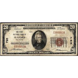 1929 $20 National Currency Note First NB of Seaford, DE Ch# 795