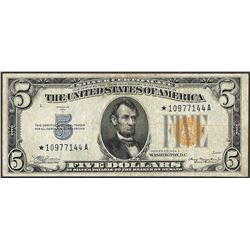 1934A $5 Silver Certificate WWII Emergency North Africa STAR Note