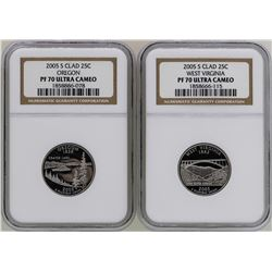 Lot of (3) 2005-S State Proof Quarter Coins NGC PF70 Ultra Cameo