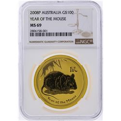 2008P $100 Australia Year of the Mouse Gold Coin NGC MS69