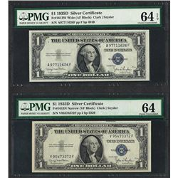 Lot of (2) 1935D $1 Silver Certificate Notes Fr.1613 PMG Choice Uncirculated 64
