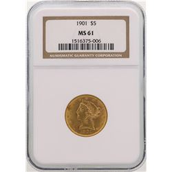1901 $5 Liberty Head Half Eagle Gold Coin NGC MS61
