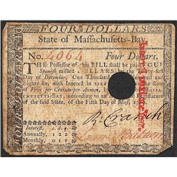 May 5, 1780 $4 Massachusetts Colonial Currency Note
