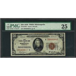 1929 $20 Federal Bank of Minneapolis Note Fr.1870-I PMG Very Fine 25