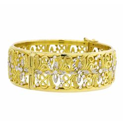 18KT Yellow Gold with Rhodium Plating Bangle Bracelet