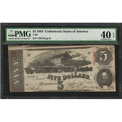 1863 $5 Confederate States of America Note T-60 PMG Extremely Fine 40EPQ