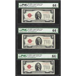 Lot of (3) Consecutive 1928G $2 Legal Tender Notes  PMG Choice Uncirculated 64EP