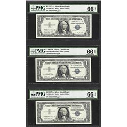 Lot of (3) Consecutive 1957A $1 Silver Certificate Notes PMG Gem Uncirculated 66