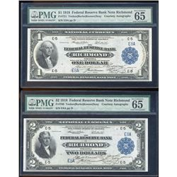 MATCHING Serial Number Pair of 1918 $1/$2 Federal Reserve Bank Notes PMG Gem Unc
