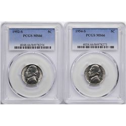 Lot of 1952-S & 1954-S Jefferson Nickel Coins PCGS MS66