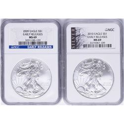 Lot of 2009 & 2010 $1 American Silver Eagle Coins NGC MS69 Early Releases