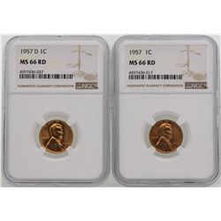 Lot of 1957 & 1957-D Lincoln Wheat Penny Coins NGC MS66RD