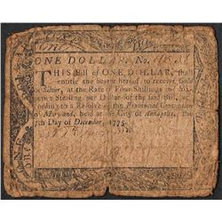December 7, 1775 $1 Maryland Colonial Currency Note