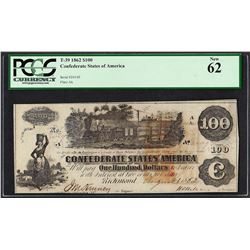 1862 $100 Confederate States of America Note T-39 PCGS New 62