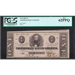 1863 $1 Confederate States of American Note T-62 PCGS New 62PPQ