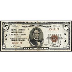 1929 $5 Anglo California NB of San Francisco, CA CH# 9174 National Currency Note