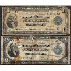 Lot of 1918 $1 & $2 Federal Reserve Bank Notes