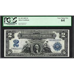 1899 $2 Mini-Porthole Silver Certificate Note Fr.253 PCGS Very Choice New 64