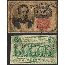 Lot of (2) Misc Fractional Currency Notes